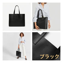 Everlane Casual Style Unisex A4 Plain Leather Office Style Totes
