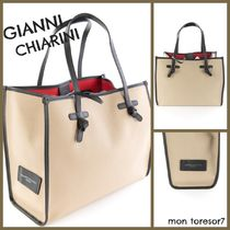 GIANNI CHIARINI Canvas A4 Plain Leather Totes