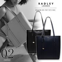 RADLEY A4 Plain Leather Office Style Elegant Style Totes