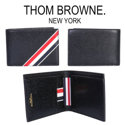 Stripes Leather Logo Folding Wallets