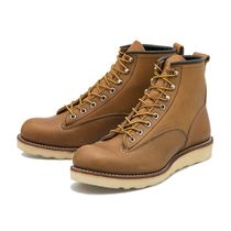 RED WING Plain Toe Unisex Street Style Leather Engineer Boots