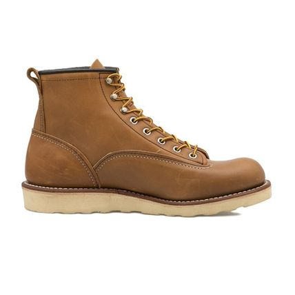 RED WING Plain Toe Unisex Leather Street Style Engineer Boots