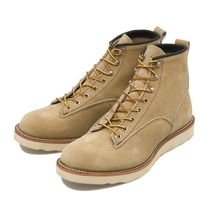 RED WING Plain Toe Unisex Suede Street Style Engineer Boots