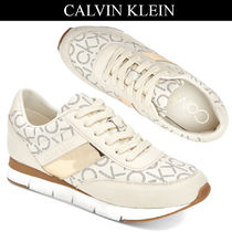 Calvin Klein Round Toe Rubber Sole Street Style Low-Top Sneakers