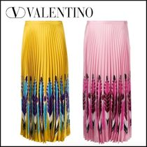 VALENTINO Flared Skirts Maxi Silk Pleated Skirts Other Animal Patterns