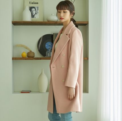 Casual Style Wool Street Style Plain Long Party Style