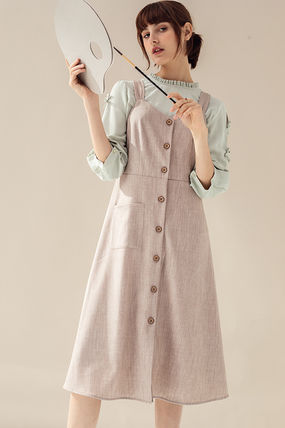 Dungarees Casual Style A-line Sleeveless Flared V-Neck Plain