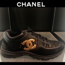 CHANEL Tweed Blended Fabrics Leather Logo Sneakers