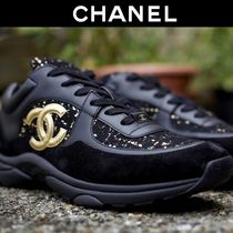 CHANEL Tweed Blended Fabrics Leather Sneakers