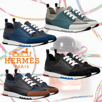 HERMES Suede Blended Fabrics Street Style Plain Leather Sneakers