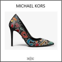Michael Kors Monogram Casual Style Plain Leather Pin Heels Party Style