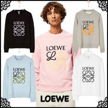 LOEWE Crew Neck Unisex Street Style Long Sleeves Plain Cotton