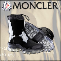 MONCLER Rubber Sole Plain Leather Ankle & Booties Boots