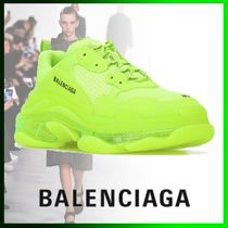 BALENCIAGA Triple S Round Toe Casual Style Leather Low-Top Sneakers