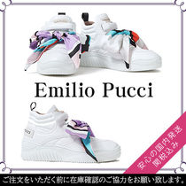 Emilio Pucci Round Toe Rubber Sole Plain Leather Low-Top Sneakers