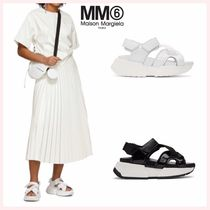 MM6 Maison Margiela Open Toe Rubber Sole Casual Style Street Style Plain Leather