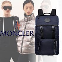 MONCLER Unisex Nylon Street Style A4 Plain Backpacks