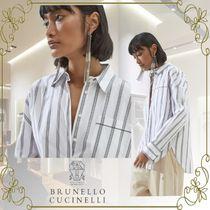 BRUNELLO CUCINELLI Stripes Casual Style Long Sleeves Cotton Office Style