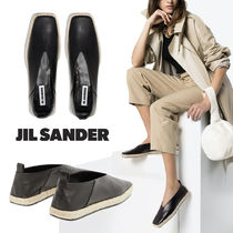 Jil Sander Square Toe Platform Sheepskin Plain Espadrille Shoes
