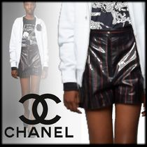 CHANEL Short Stripes Casual Style Leather Elegant Style
