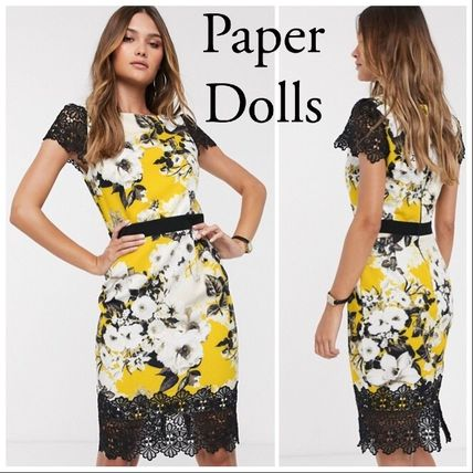 Flower Patterns Tight Short Sleeves Lace Elegant Style