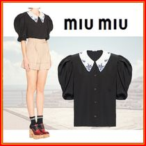 MiuMiu Casual Style Silk Puffed Sleeves Short Sleeves Elegant Style