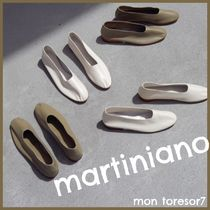 MARTINIANO Plain Leather Ballet Shoes