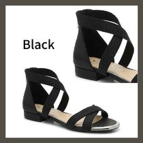 Jessica Simpson Open Toe Round Toe Casual Style Faux Fur Blended Fabrics