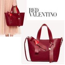 RED VALENTINO 2WAY 3WAY Plain Leather Totes