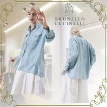 BRUNELLO CUCINELLI Casual Style Silk Long Sleeves Plain Office Style