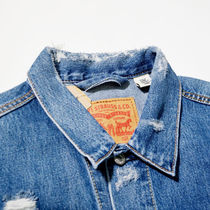 Levi's Short Other Plaid Patterns Unisex Street Style Denim Jackets