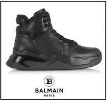 BALMAIN Lace-up Casual Style Plain Leather Low-Top Sneakers