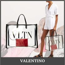 VALENTINO VLTN Casual Style Crystal Clear Bags PVC Clothing Logo Totes