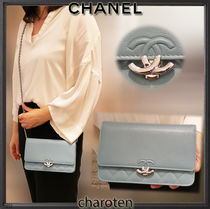 CHANEL CHAIN WALLET Calfskin Chain Plain Leather Chain Wallet Bridal Accessories