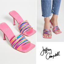Jeffrey Campbell Open Toe Square Toe Casual Style Plain Leather Pin Heels