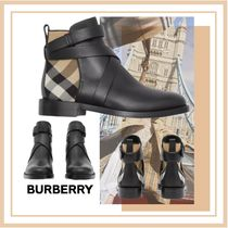 Burberry Other Check Patterns Casual Style Leather Party Style