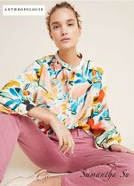 Anthropologie Flower Patterns Casual Style Long Sleeves Cotton