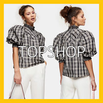 TOPSHOP Gingham Stripes Other Check Patterns Casual Style Unisex