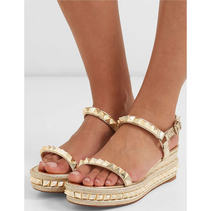 Open Toe Casual Style Leather Platform & Wedge Sandals