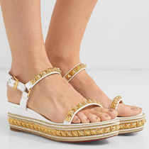 Christian Louboutin Pyraclou Open Toe Casual Style Leather Platform & Wedge Sandals