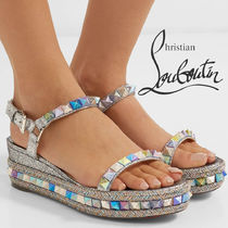 Christian Louboutin Pyraclou Open Toe Casual Style Studded Leather Glitter Metallic