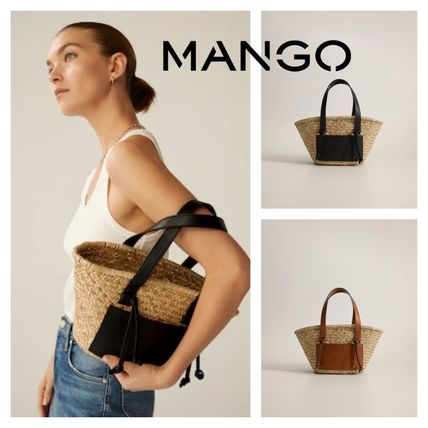 2WAY Plain Straw Bags