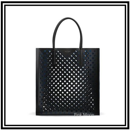 Unisex Calfskin Plain Leather Logo Totes