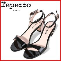 repetto Open Toe Casual Style Enamel Studded Street Style Plain