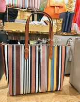 Tory Burch Stripes Blended Fabrics 2WAY Crossbody Totes