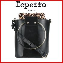 repetto Leopard Patterns Casual Style 2WAY Leather Party Style