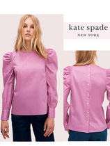 kate spade new york Stripes Casual Style Puffed Sleeves Long Sleeves Plain