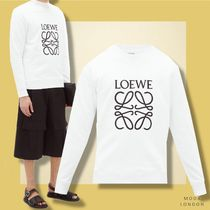 LOEWE Crew Neck Long Sleeves Plain Cotton Sweatshirts
