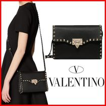 VALENTINO Studded Street Style Plain Leather Logo Shoulder Bags