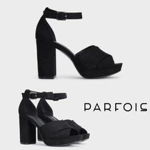 PARFOIS Open Toe Rubber Sole Casual Style Plain Block Heels